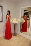 Luxe Prom Red Dress with Beaded Detail