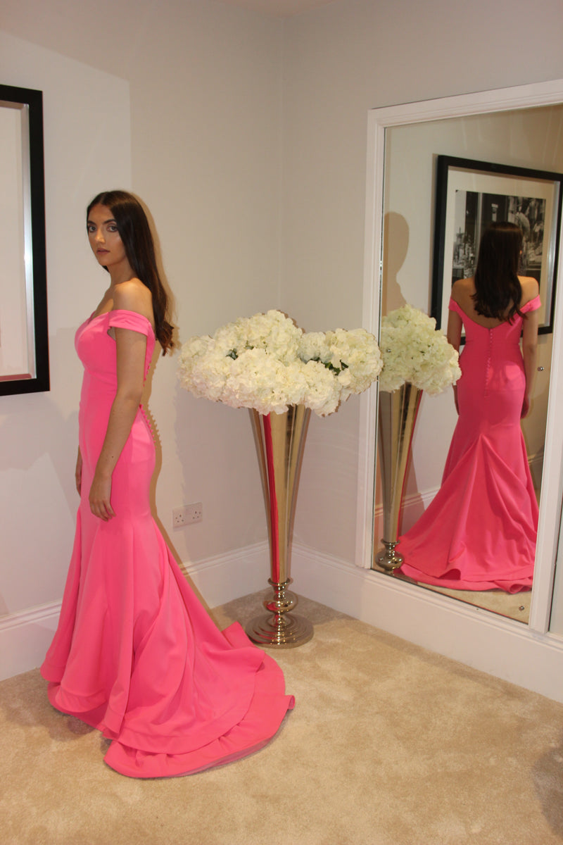 Luxe Prom Pink Off The Shoulder Fishtail Dress