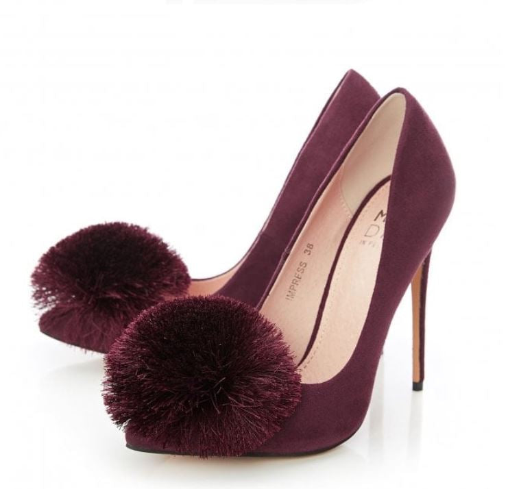 Moda in Pelle Impress Burgundy Pom Pom Stiletto Court