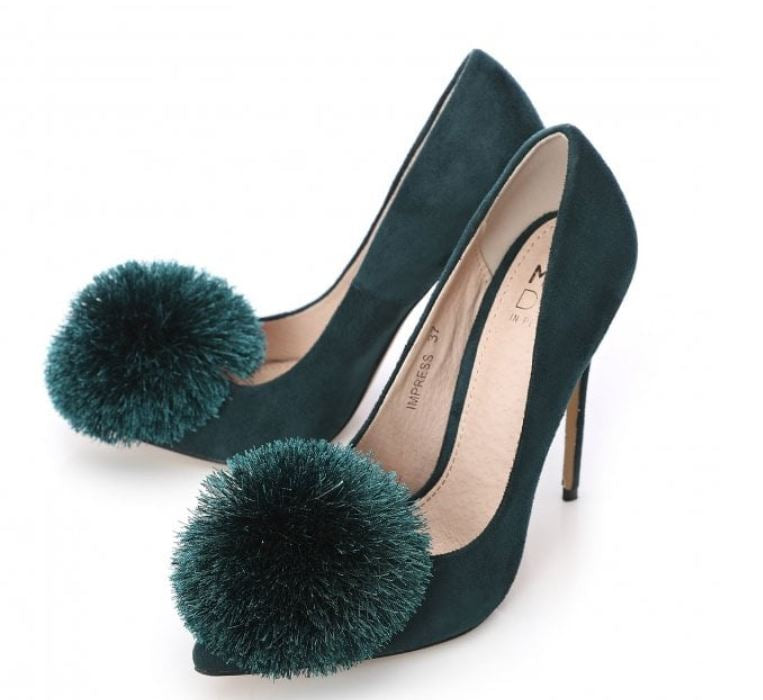 Moda in Pelle Impress Teal Pom Pom Stiletto Court