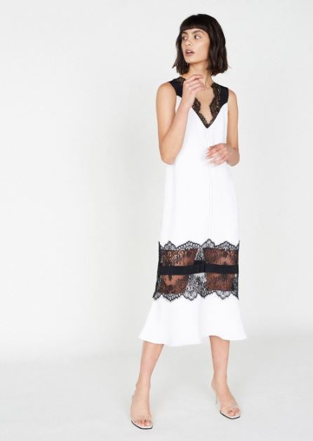 Outline Cream Midi Slip Dress with Lace Sheer Inserts