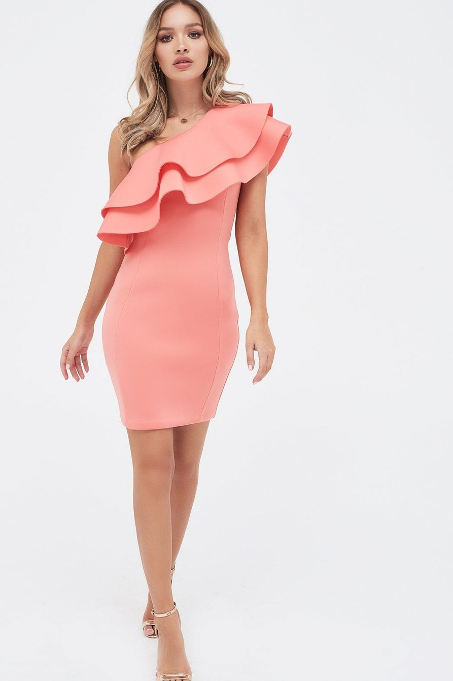 Lavish Alice One Shoulder Coral Frill Dress