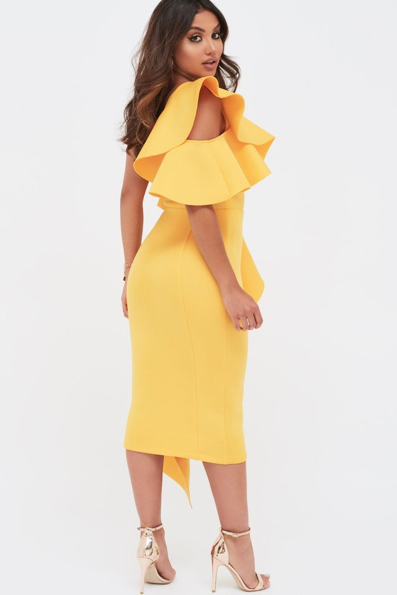 Lavish Alice Yellow Frill Midi Dress