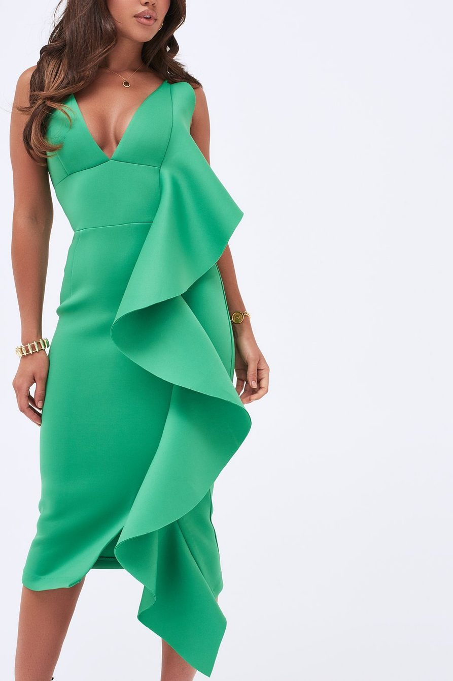 Lavish Alice Green Midi Frill Dress