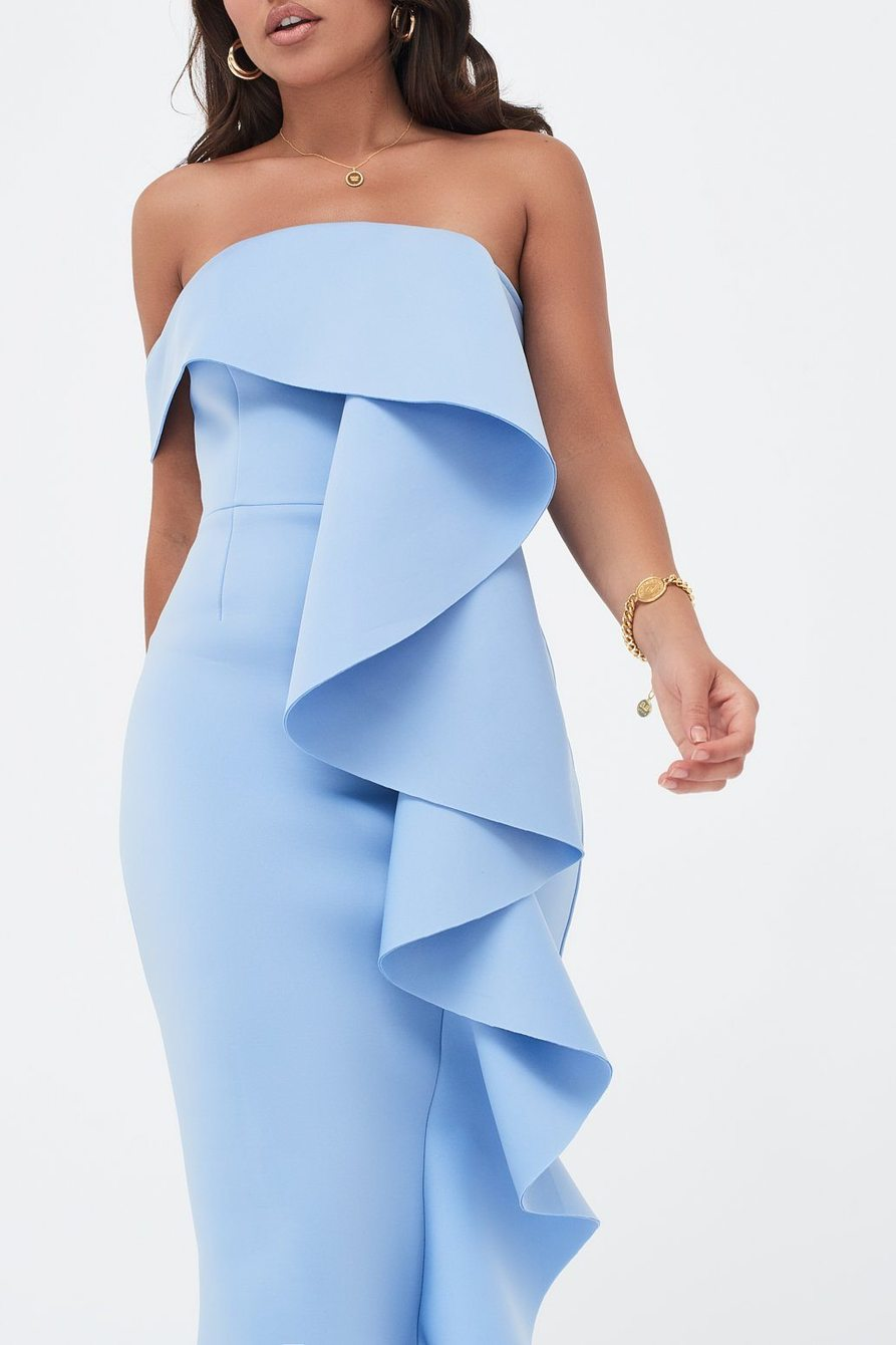 Lavish Alice Blue Midi Dress