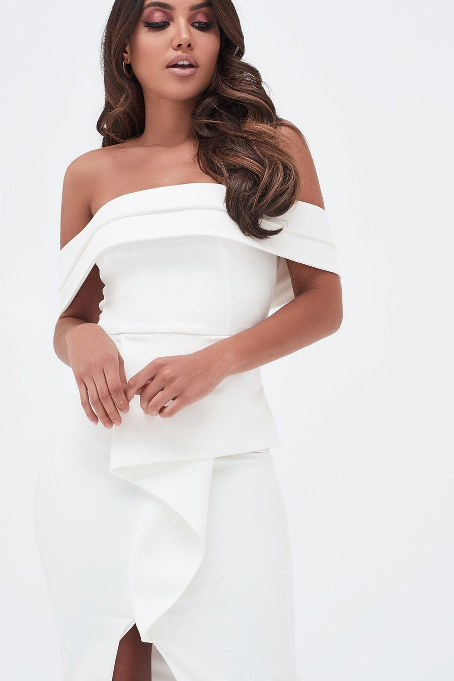 Lavish Alice White Off The Shoulder Midi Dress