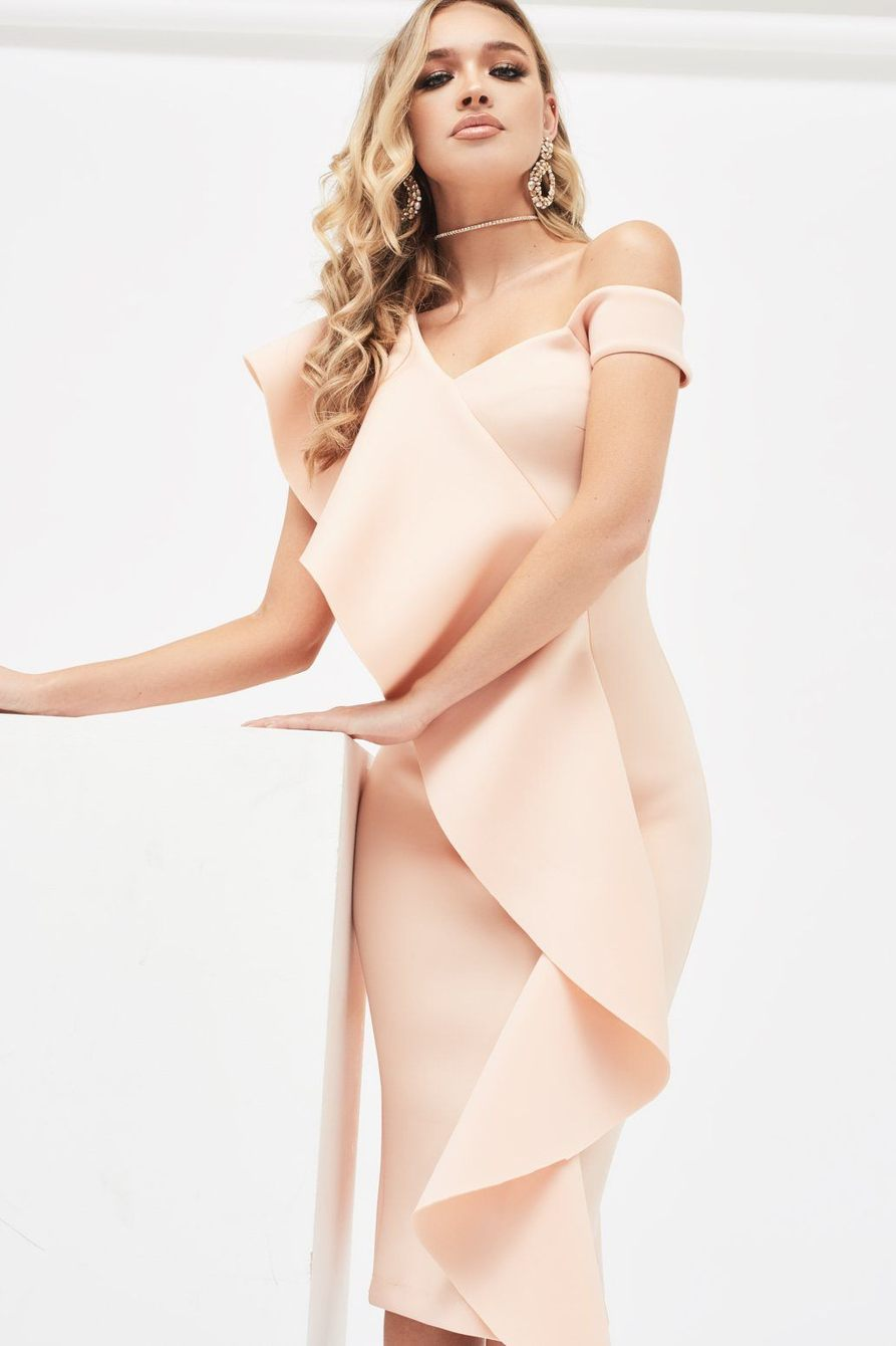 Lavish Alice Nude Scuba Midi Dress