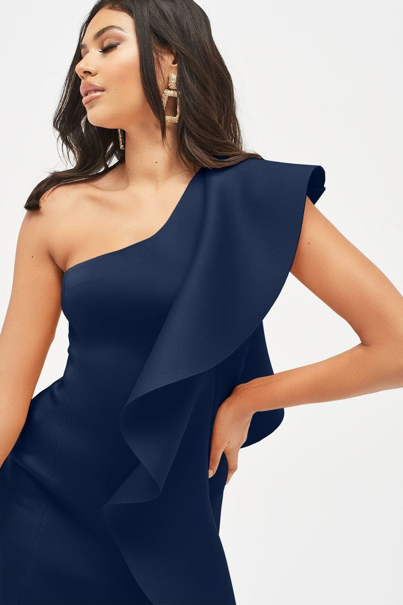 Lavish Alice Navy One Shoulder Scuba Dress