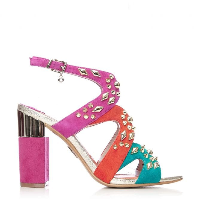 Moda in Pelle Liora Multi Coloured Suede Studded Heel