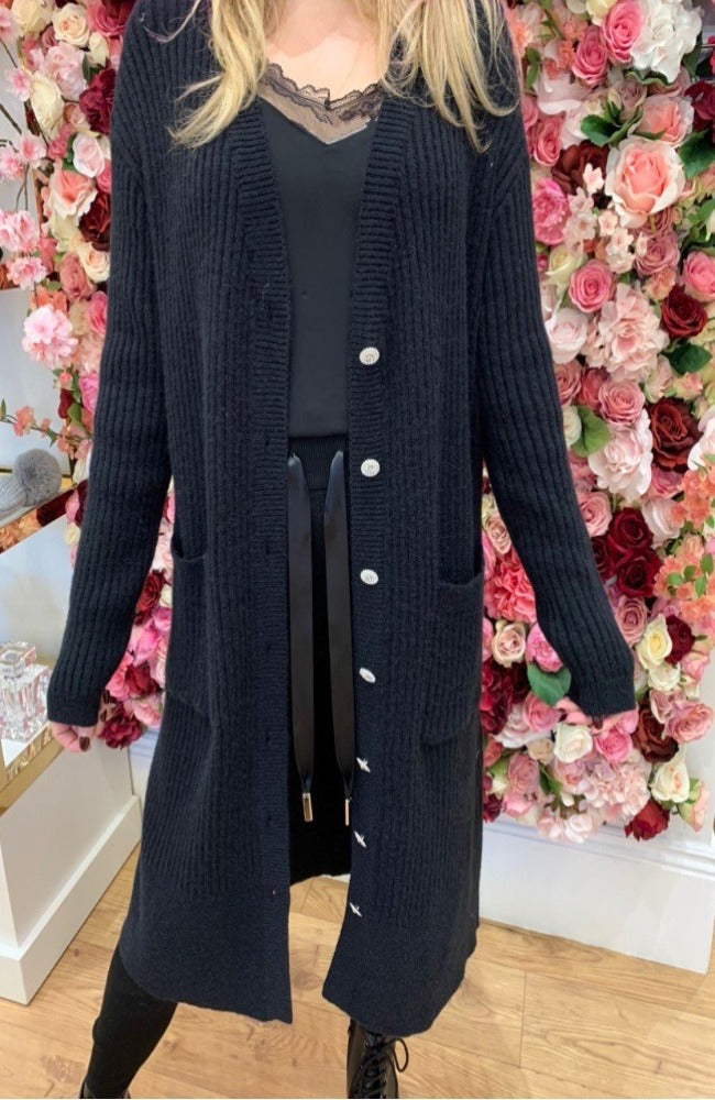 Black Long Knitted Cardigan with Sparkle Buttons