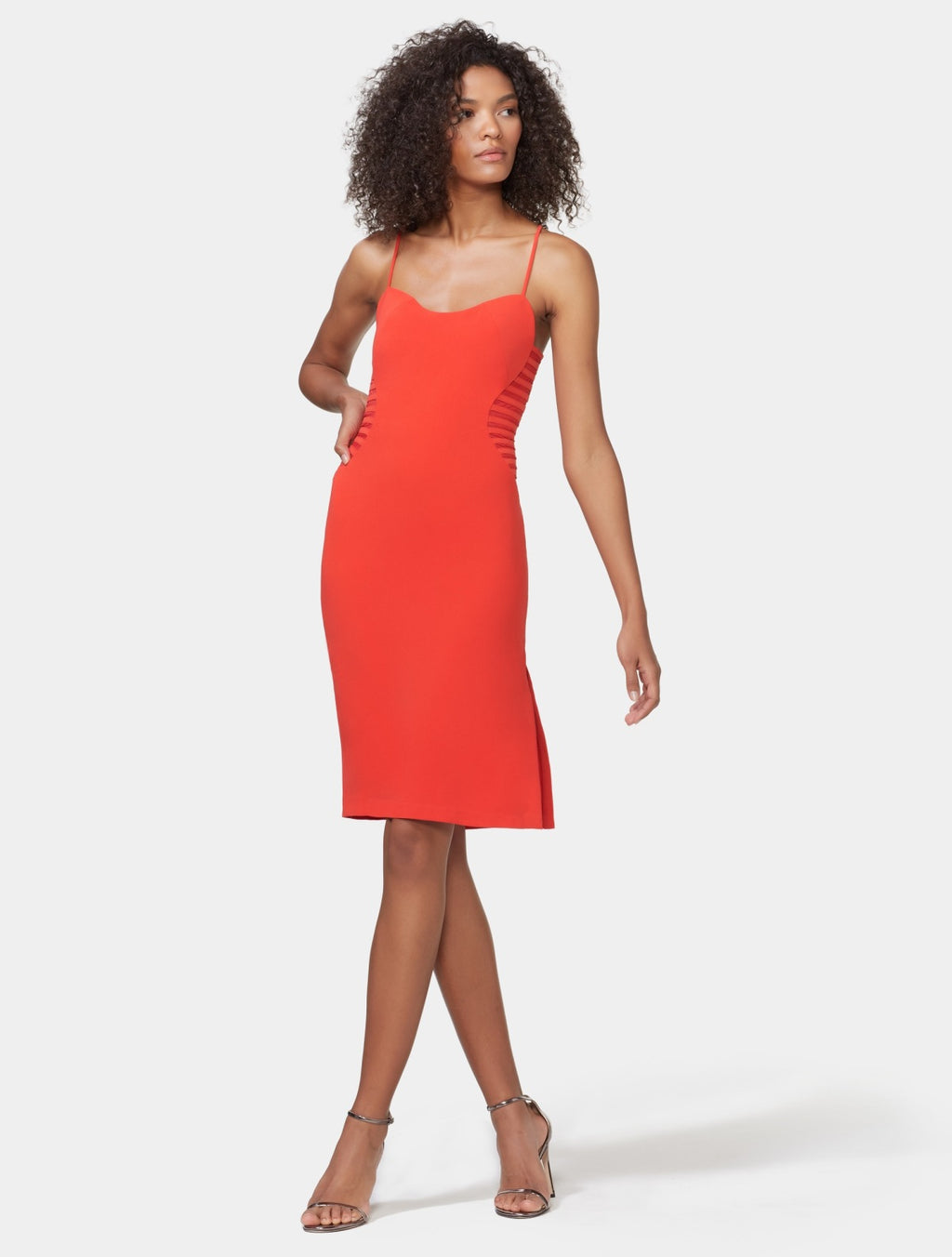Halston Heritage Red Strapy Bodycon Dress with Side Detail