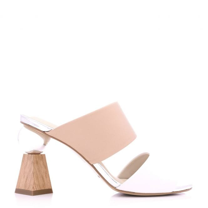Moda in Pelle Nella Nude and White Leather Ball Flare Heel