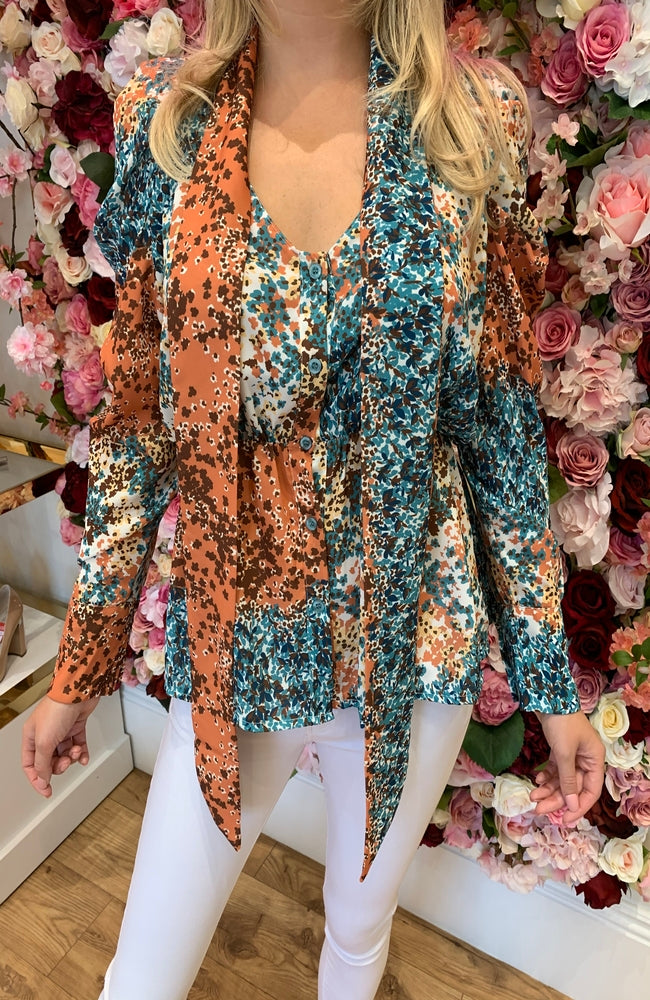 Garconne Orange and Green Floral Print Blouse