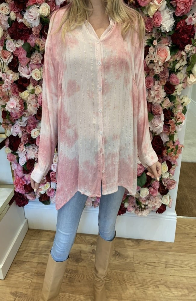 QED Pink Tie Dye Blouse with Gold Detail
