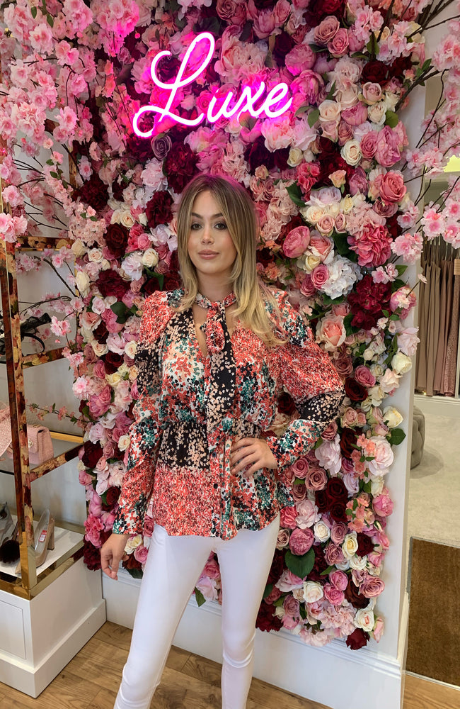 Garconne Pink and Black Floral Print Blouse
