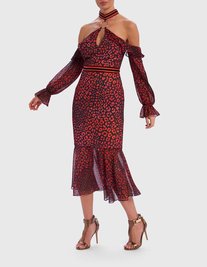 Forever Unique Red Leopard Print Midi Dress