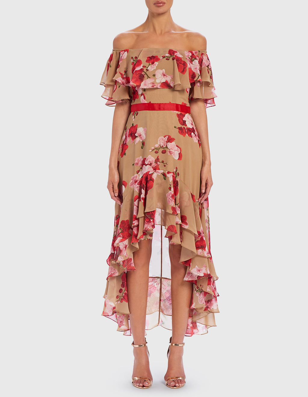 Forever Unique Vogue Floral Off The Shoulder Midi Dress