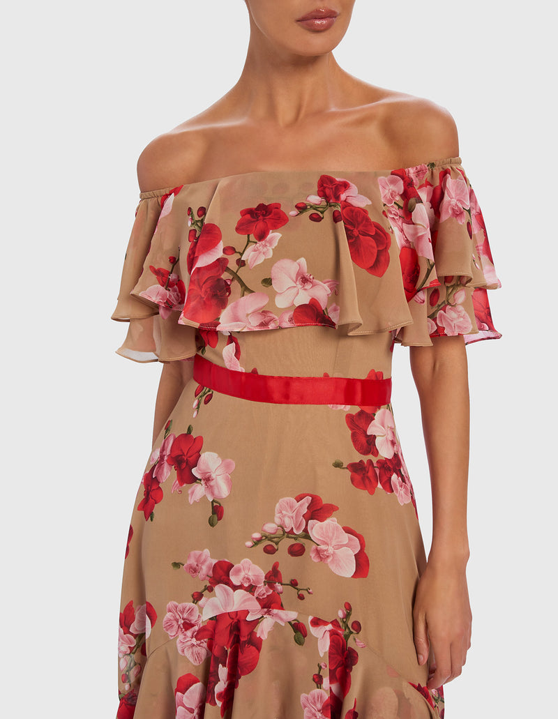 Forever Unique Floral Off The Shoulder Midi Dress