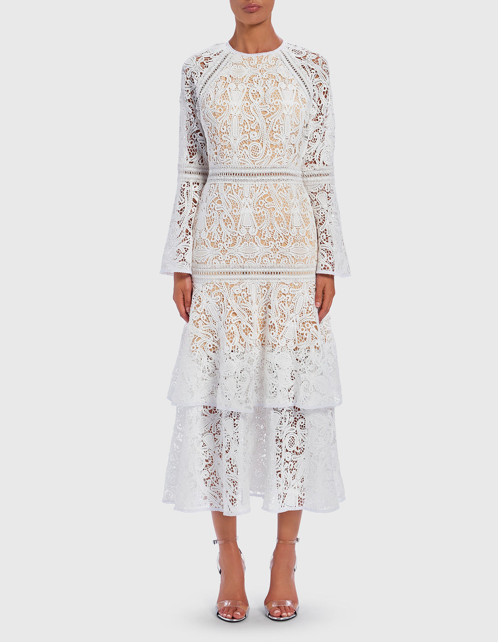 Forever Unique Millie White Lace Midi Dress