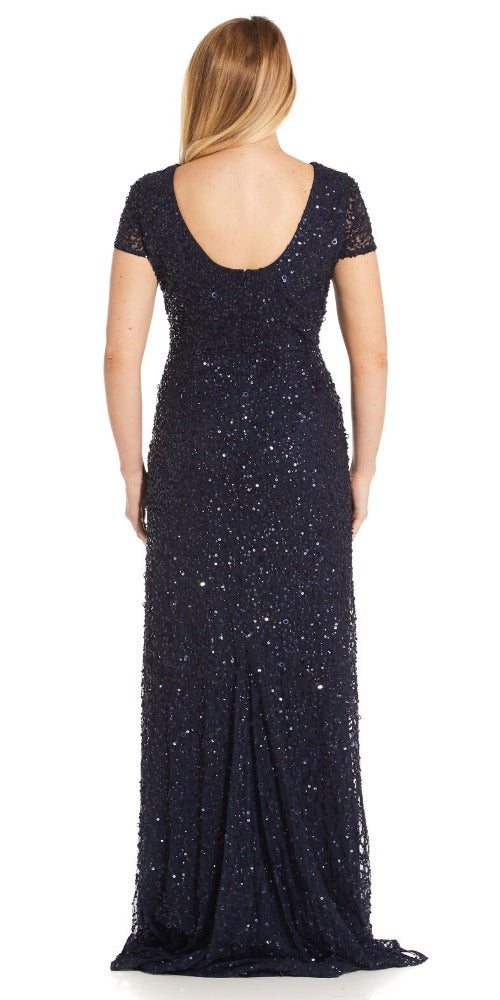 Adrianna Papell Scoop Back Sequin Gown - Navy