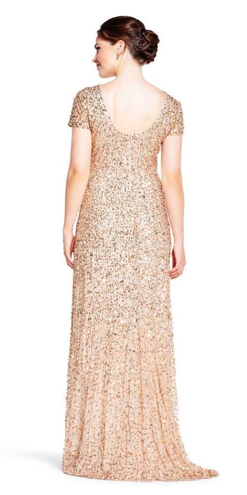 Adrianna Papell Scoop Back Sequin Gown - Gold/Champagne