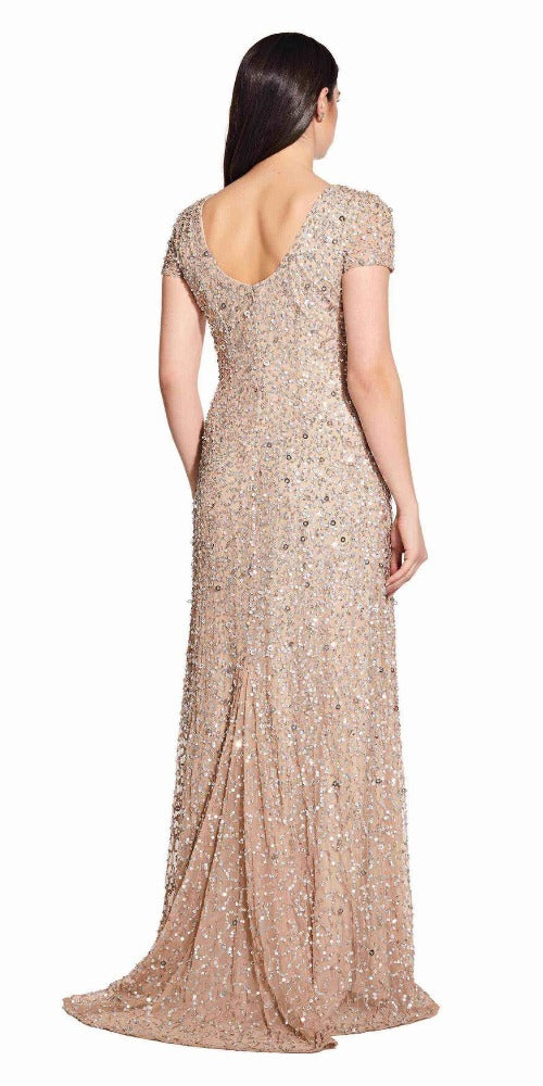 Adrianna Papell Scoop Back Sequin Gown - Champagne