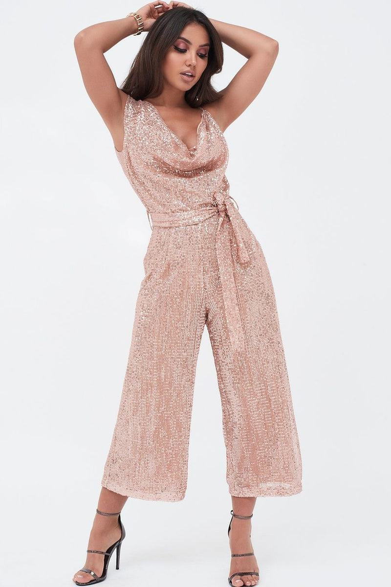 Lavish Alice Pleated Sequin Cowl Neck Culotte Jumpsuit