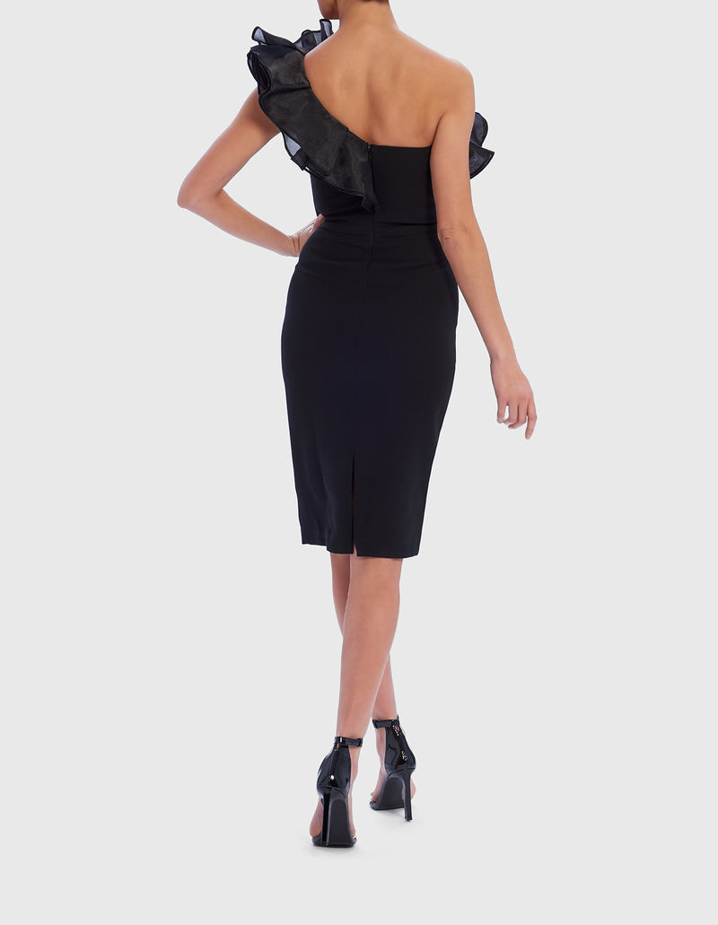 Forever Unique Black Midi Dress with Frill Detail