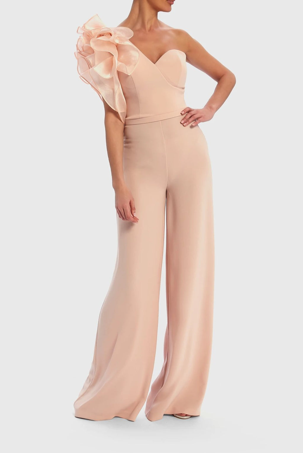 Forever Unique Nude Wide Leg Jumpsuit with Frill Shoulder