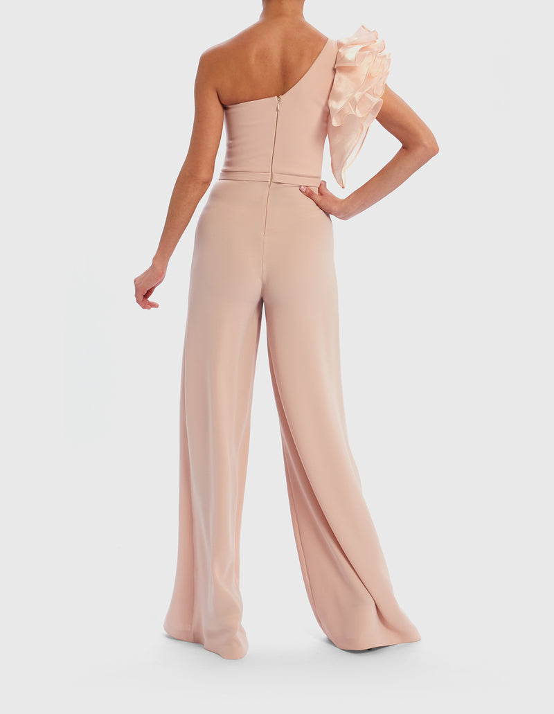 Forever Unique Blush One Shoulder Jumpsuit