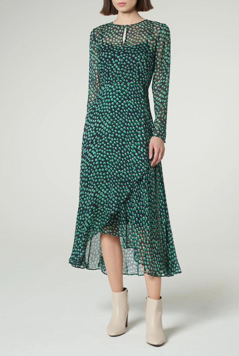 LK Bennett 100% Silk Green and Blue Midi Dress