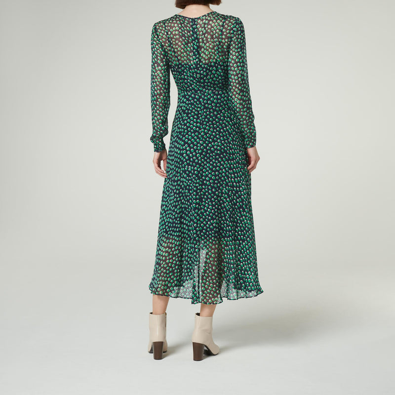 LK Bennett Green and Blue Silk Midi Dress