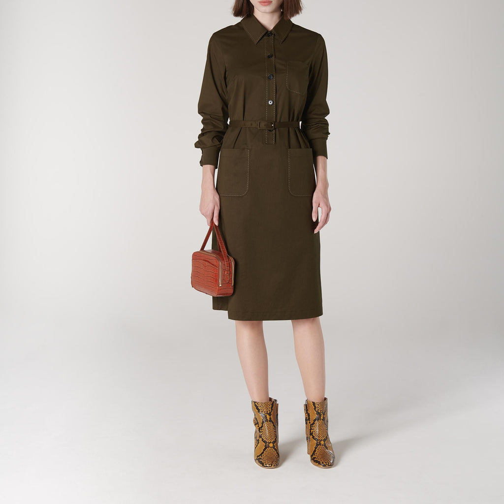 LK Bennett Khaki Cotton Shirt Dress