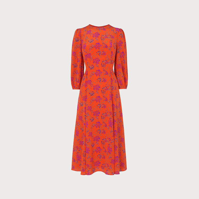 LK Bennett 100% Silk Orange Printed Midi Dress