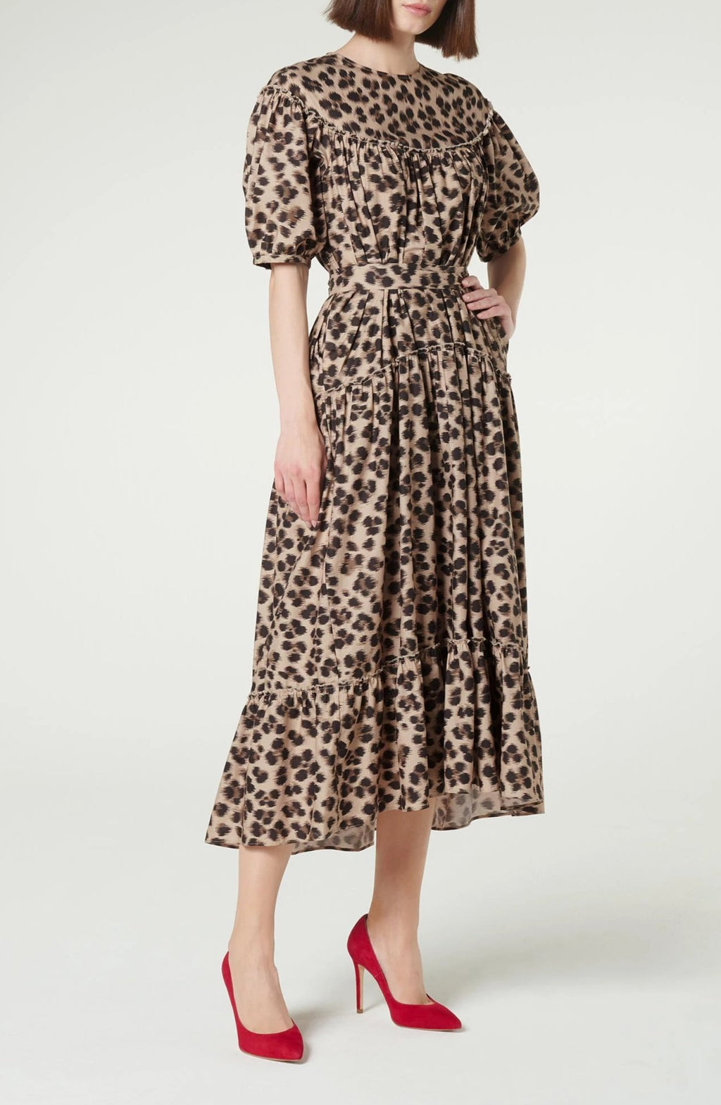 LK Bennett Leopard Print Cotton Smock Dress