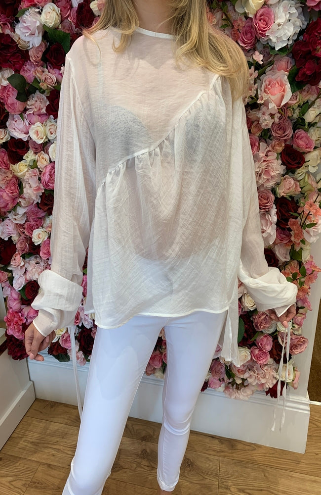 Luzabelle White Floaty Sheer Top