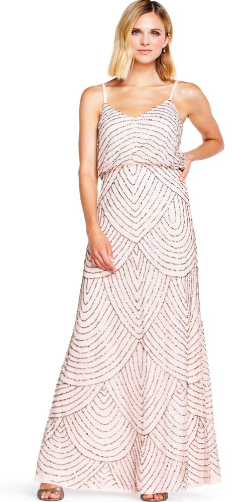 Adrianna Papell Art Deco Beaded Blouson Gown - Blush/Gold