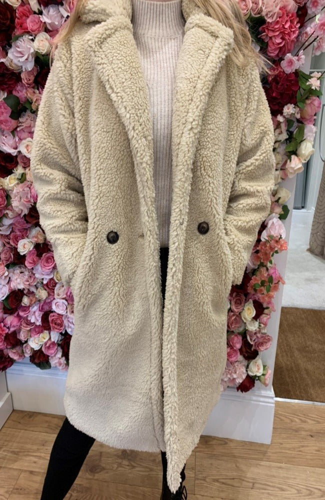The Teddy Bear Coat in Beige