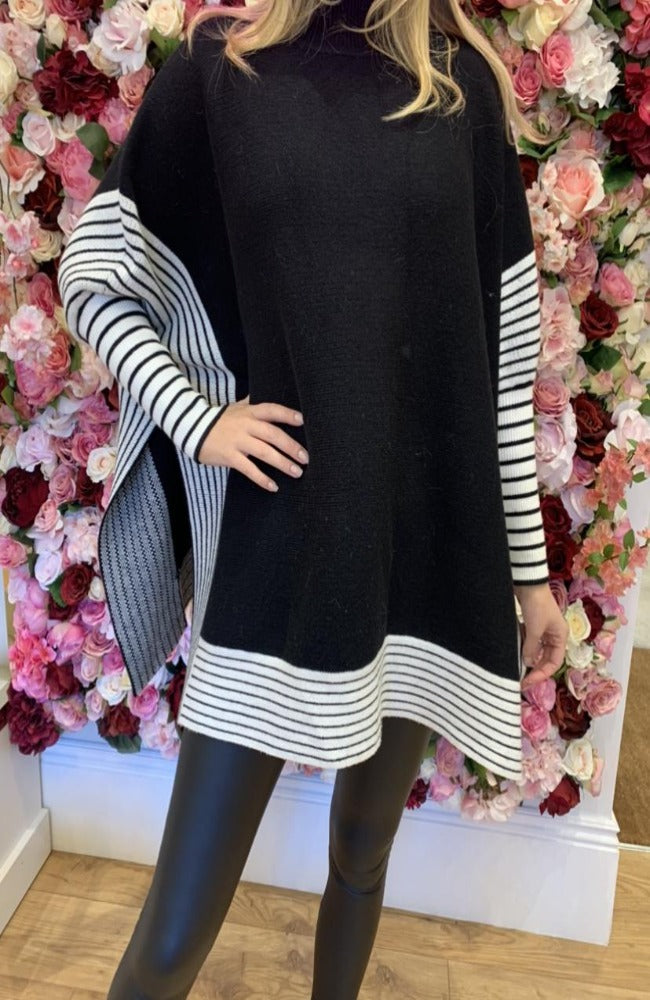 Exquiss Black Stripe Cape Jumper