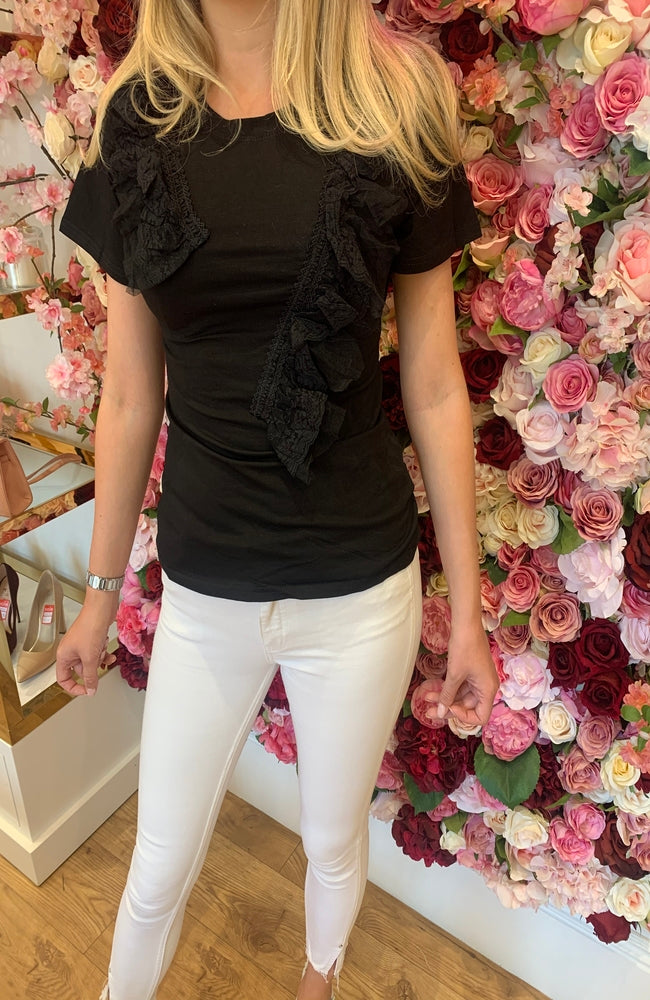 Black T-Shirt with Fabric Detail