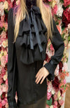 Black Frill Shirt with Tie Neck Detail