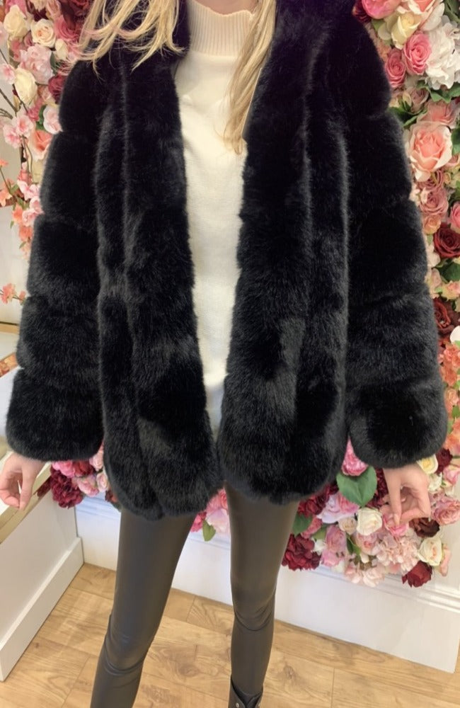 Premium Faux Fur Hooded Coat in Black