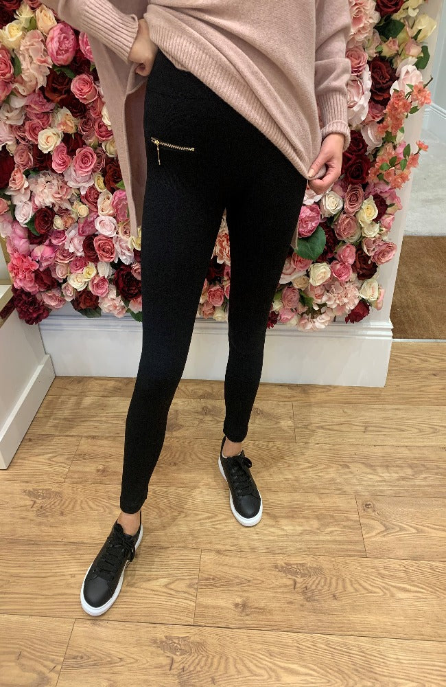 Black Knit Leggings with Gold Zip Detail