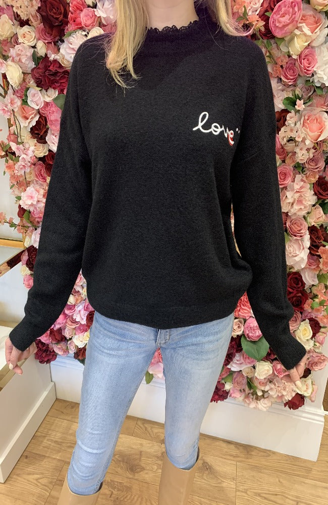 Exquiss Black Love Jumper with Lace Neck Detail