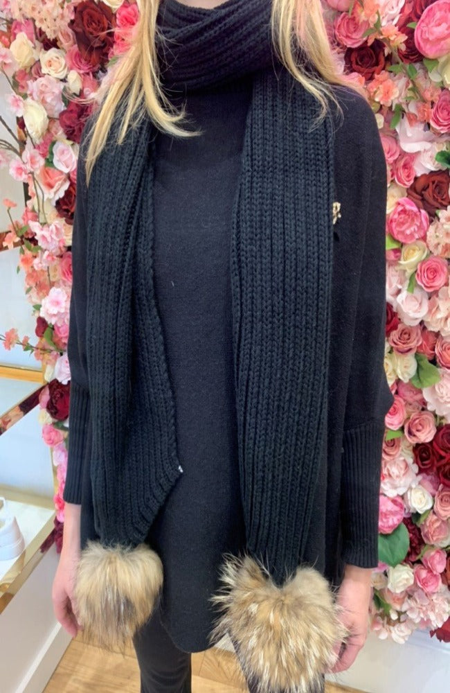 Black Knit Scarf with Fur Bobbles