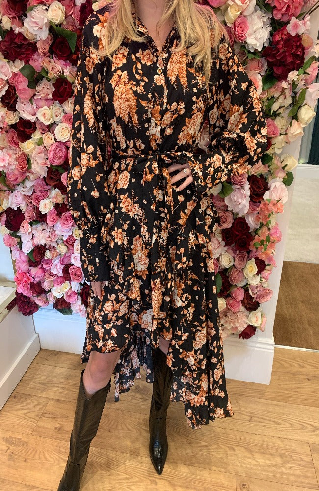 Jus De Pom Black Floral Rara Dress