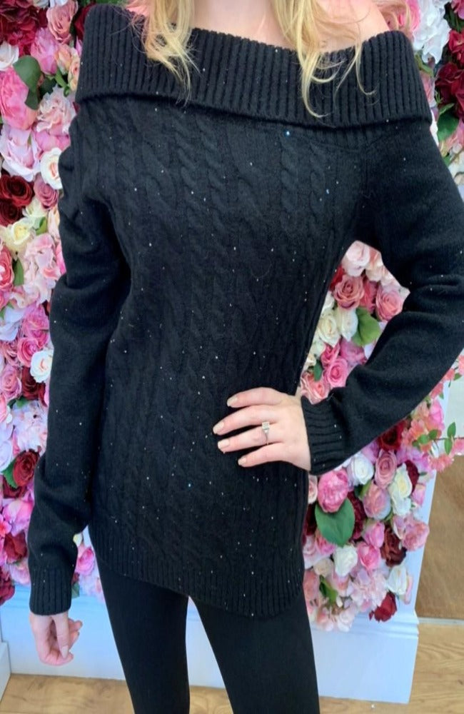 Black Cable Knit Jumper with Sequin Detail