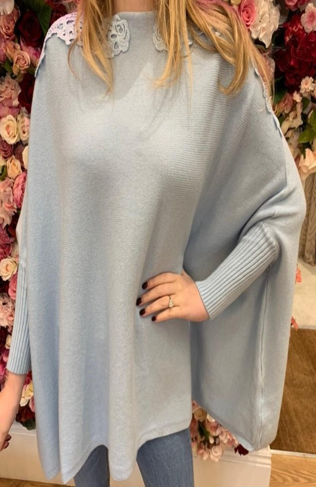 Light Blue Cape Jumper with Collar Detail