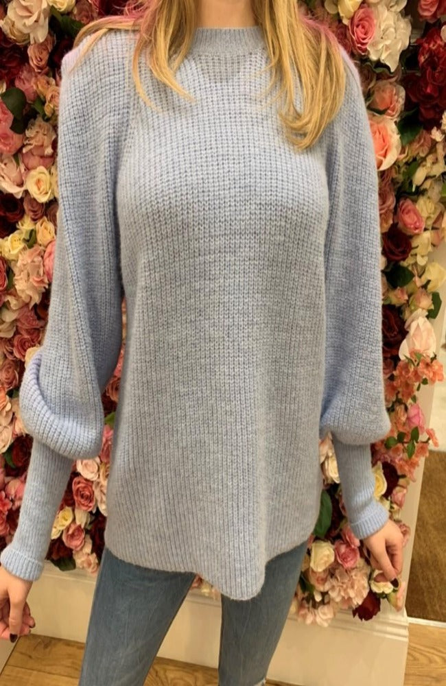 Blue Puff Sleeve Knit Jumper