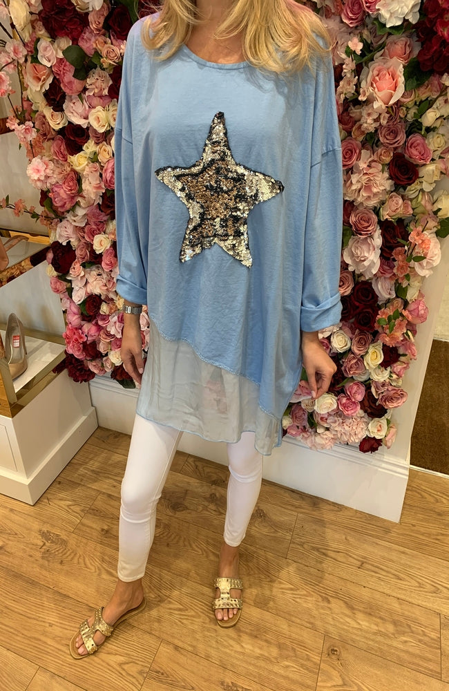 Sequin Star Layer Top - Blue